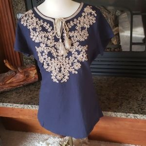 Blouse with cording and sequins